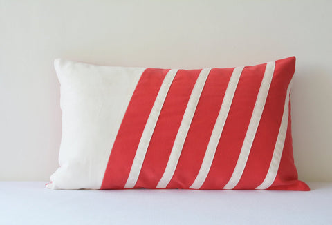 Graphic Coral Red and Ivory Faux Suede Patchwork Pillow Cover, Red Decorative Pillow Cover , Red Throw Pillow Cover , Suede Cushion Cover