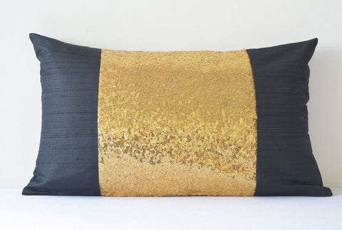 Black & Gold Pillow Cover