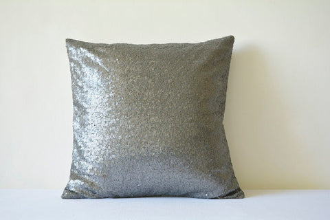 Gun Metal Silver Metallic Sequin Pillow Cover