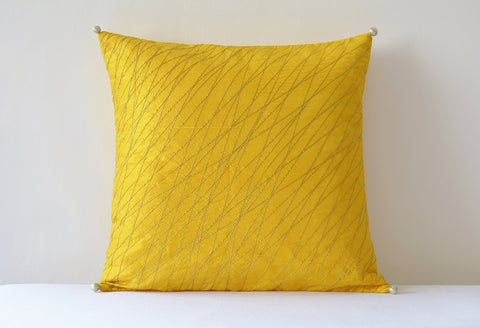 Bright and Festive Yellow Silk Pillow Cover with Gold Stitch Detail , Yellow Silk Pillow Cover , Yellow Decor Pillow Cover , Yellow Cushion