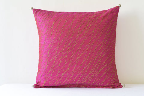 Festive Pink Silk Pillow Cover with Gold Stitch Detail , Pink & Gold Silk Pillow Cover , Hot Pink Decor Pillow Cover , Fuchsia Cushion Cover