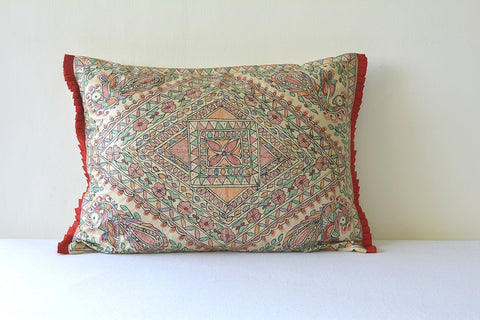 Colourful Hand Painted Madhubani Pillow Cover, Colourful Folk Art Rectangle Pillow Cover, Tussar Silk & Colourful Hand Painted Cushion Cover