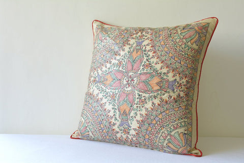 Hand Painted Madhubani Pillow , Colourful Folk Art on Silk Pillow Cover , Tussar Silk and Colourful Hand Painted Cushion Cover