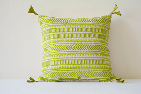 Beautiful Green Embroidery on Natural Cotton Linen Pillow Cover , Geometric Embroidery in Green on Ecu Cotton Linen Scatter Cushion , Decor Pillow