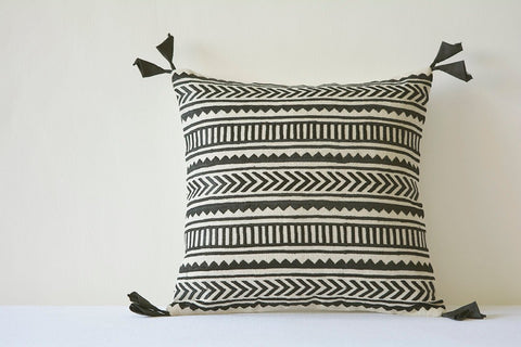 Beautiful Black Embroidery on Natural Cotton Linen Pillow Cover