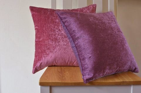 Reversible Velvet Pillow Cover in Plum & Mauve