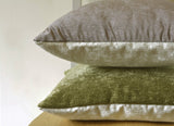 Reversible Velvet Pillow Cover in Taupe & Ivory
