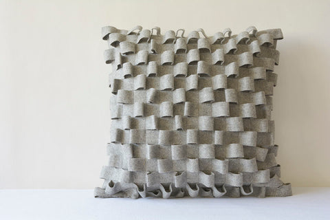 3-D Light Grey Felt Cushion Cover , Grey Decorative Pillow , Gray Accent Throw Pillow, Textured Gray Felt Pillow in Woven Loop Pattern