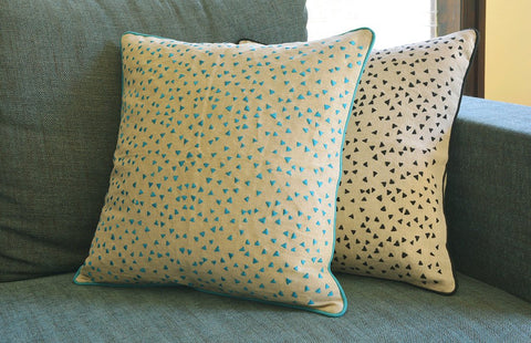So Fun! Triangle Confetti Embroidery on Linen Pillow Cover , Blue Confetti Cushion Cover , Turquoise & Natural Cotton Linen Pillow Cover