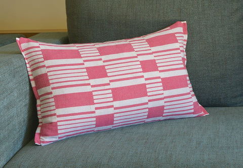 Pink Graphic Stripe Pillow Cover , Cotton Woven Stripe Cushion Cover in Pink and White , Yarn dyed Woven Stripe Pillow Cover in Pink & White