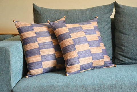 Natural and Blue Tussar Khadi Silk Pillow Cover with Pom Pom Detail, Khadi Silk Cushion Cover with Stripes , Striped Decorative Pillow Cover