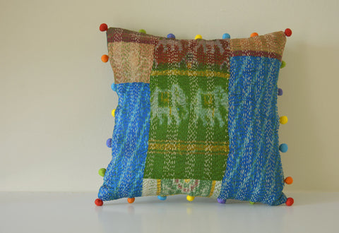 Bright Vintage Sari Patchwork Cushion Cover with Indian Motifs