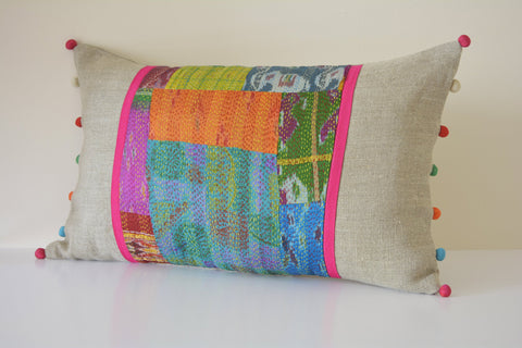 Bright Vintage Kantha Patchwork Lumbar Cushion Cover