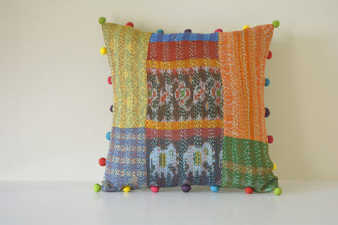Bright Recycled Vintage Kantha Patchwork Cushion Cover
