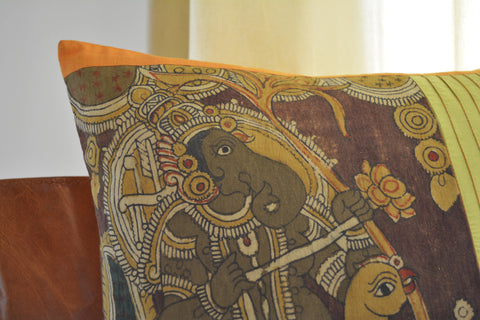 Hand Painted Kalamkari Cushion Cover Depicting Lord Ganesha