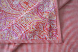 Soft 2 Layer Red & Pink Paisley Printed Cotton Top Sheet , 100% Cotton Reversible Flat Sheet with Beautiful Prints, Red Gingham Indian Dohar
