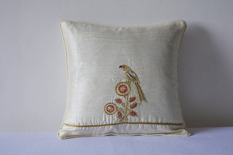 Hand Embroidered Gold Zardozi Bird Cushion Cover, Ivory Gold Hand Embroidered Bird Pillow Cover, White Cushion Cover, Gold Thread Embroidery