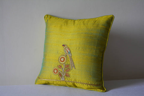 Hand Embroidered Gold Zardozi Bird Cushion Cover, Chartreuse Hand Embroidered Bird Pillow Cover, Green Cushion Cover, Gold Thread Embroidery