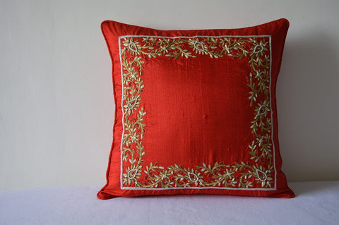 Hand Embroidered Red and Gold Zardozi Cushion Cover , Red & Gold Hand Embroidered Pillow Cover , Christmas Decor, Gold Thread Embroidery