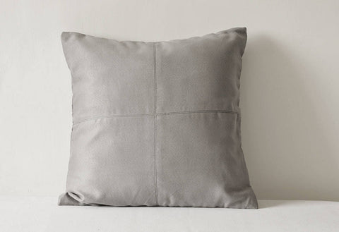 Light Grey Faux Suede Pillow Cover with Stitch Detail , Grey Decorative Pillow , Grey Throw Pillow Cover ,  Light Grey Suede Cushion Cover