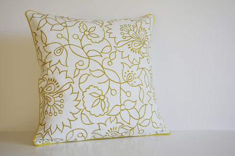 Chartreuse Embroidery on 100% Cotton Canvas Pillow Cover , Yellow Embroidered Cushion Cover , Ochre Floral Embroidered Cotton Pillow Cover