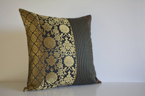 Black and Gold Silk  Brocade Pillow Cover , Black Brocade Accent Cushion Cover , Black and Gold Decorative Lumbar Pillow Cover