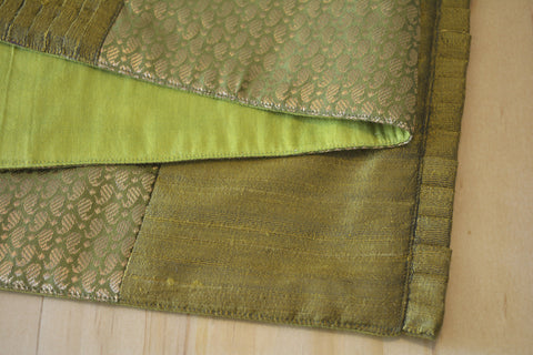 Beautiful Olive Silk & Brocade Patchwork Table Runner , Dining and Entertaining, Kitchen and Housewares, Beautiful Silk Patchwork Runner