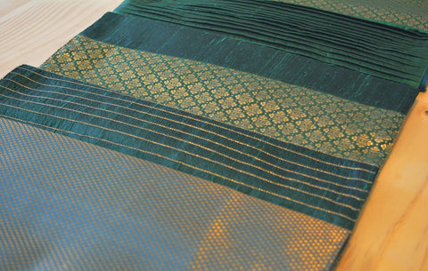 Beautiful Gold and Green Brocade Silk Table Runner , Emerald Green Patchwork Table Runner , Silk Runner , Green Brocade Silk Table Runner