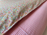 Reversible Duvet Cover 100% Cotton in a Ditsy Floral Print with Pink Gingham reverse and 2 Pillow Cases, Floral Bedding , Floral Duvet Set