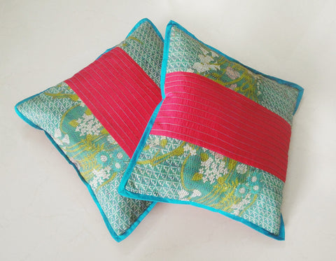 Set Of 2 Vintage Sari Pillow Covers
