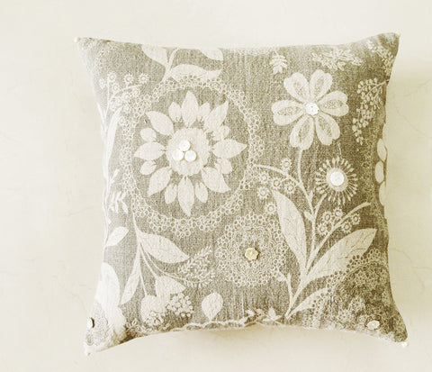 Grey Printed Linen Decorative Pillow Cover with Mother of Pearl Button Detail