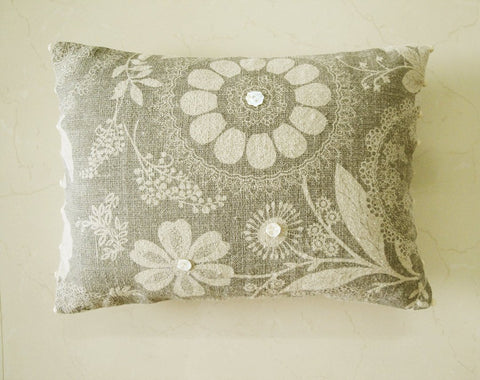 Grey Printed Linen Pillow Cover