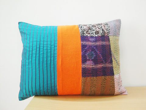 Hand Stitched Vintage Kantha Silk, Decorative Cushion Cover