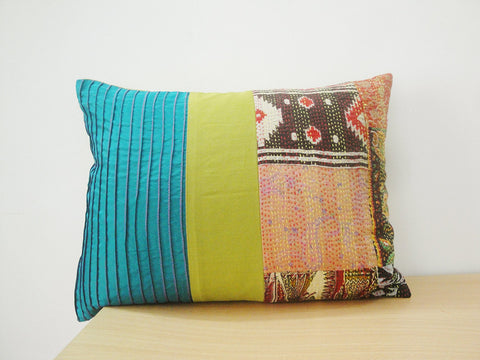 Hand Stitched Vintage Kantha Silk Cushion Cover