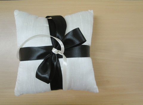 Simple Ivory Dupioni Silk Ring Pillow