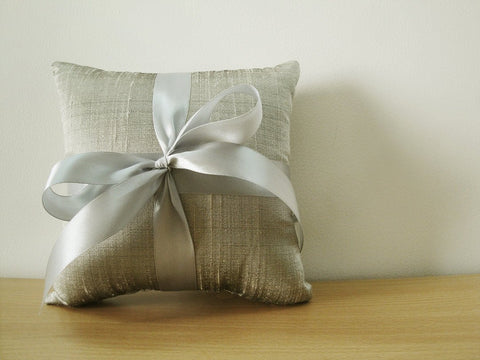 Silver Grey Silk Dupioni Ring Bearer Pillow with Grey Satin Ribbon