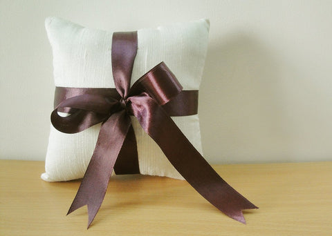 Silk Dupioni Ring Bearer Pillow with Deep Purple Satin Ribbon
