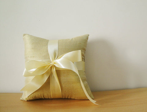 Gold Beige Dupioni Silk Ring Bearer Pillow with Satin Ribbon