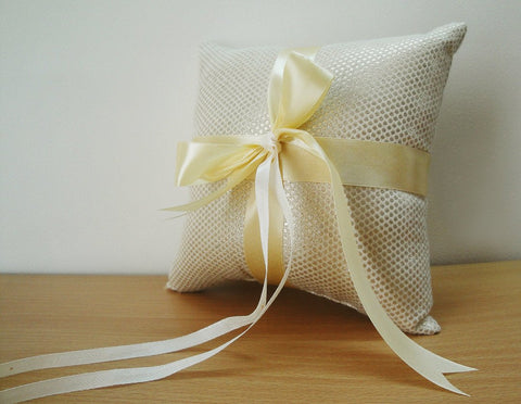 Elegant Creme and Gold Ring Bearer Pillow in a Woven Dot Pattern with Satin Ribbons