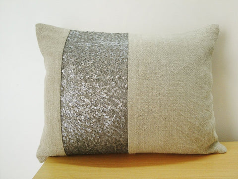 Linen Pillow with Gray Sequin Band