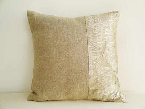 Linen and Pale Gold Beige Metallic Pillow Cover