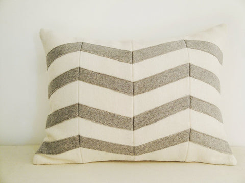 Chevron Applique Felt Cushion Cover in Grey and White, Decorative Pillow, Accent Throw Pillow