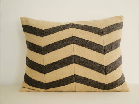 Chevron Applique Felt Cushion Cover in Beige and Grey, Decorative Pillow, Accent Throw Pillow