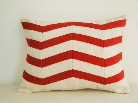 Chevron Applique Felt Cushion Cover In Red And White Decorative Classy Red And White Decorative Pillows