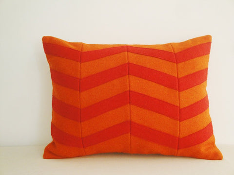 Chevron Applique Felt Cushion Cover in Red and Orange, Decorative Pillow, Accent Throw Pillow