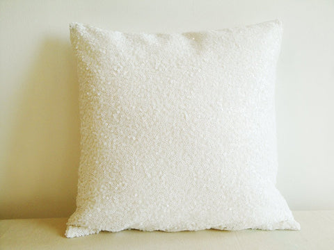 White Sequin Pillow Cover