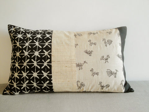 Light Beige and Black Folk Birds Embroidered Pillow Cover