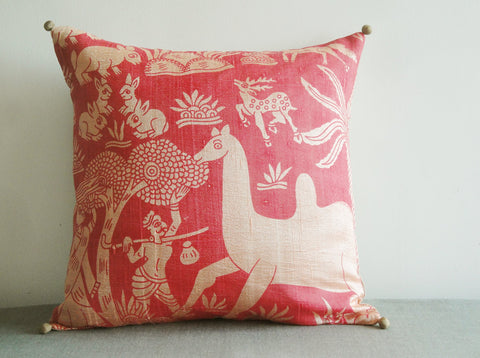 Printed Coral Dupioni Silk Pillow Cover with Indian Animals Theme