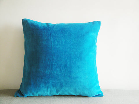 Turquoise Blue Velvet Cushion Covers, Set of 2