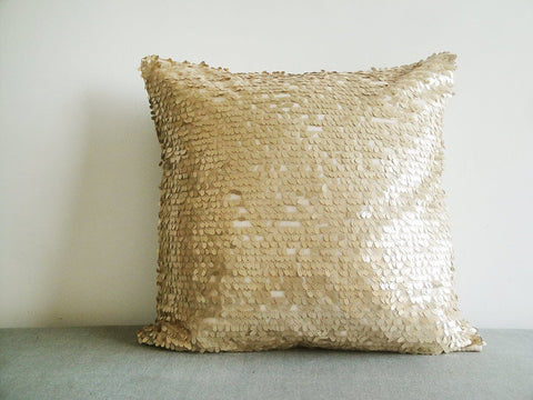 Dancing Gold Sequin Pillow Cover , Gold Holiday Decor , Gold Throw Pillow , Gold Decorative Pillow, Christmas Decor